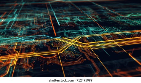 Abstract technological background made of different element printed circuit board. Depth of field effect and bokeh/Printed circuit board in the server  executes the data 3d Illustration
