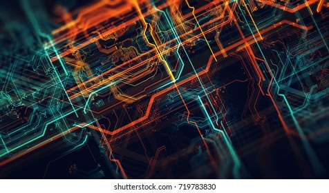 Abstract technological background made of different element printed circuit board and flares. Depth of field effect.3d Render