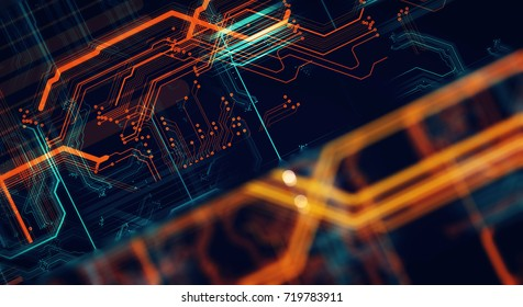Abstract technological background made of different element printed circuit board and flares. Depth of field effect and bokeh.
