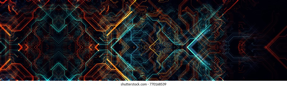 Abstract technological background made of different element printed circuit board. Depth of field effect and bokeh, can be used as digital dynamic wallpaper. 3d Rendering/Printed circuit board