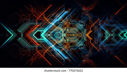Abstract technological background made of different element printed circuit board. Depth of field effect and bokeh. Printed circuit board in the server executes the data. 3D Rendering