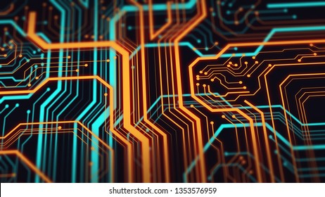 Abstract technological background.  Neon circuit board with bokeh effect.