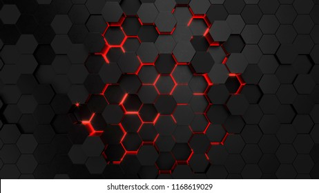 Abstract technological hexagonal neon background. 3d rendering