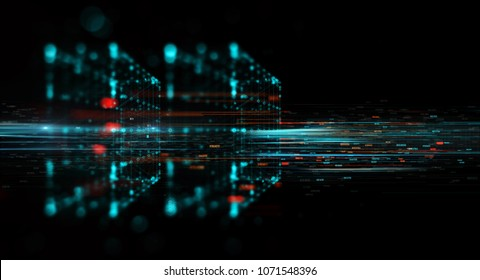 Abstract technology background. Block chain network concept, Distributed register technology, Block chain line of participant chain. 3D Rendering/Block chain network