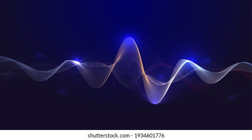 Abstract technology background with equalizer light effect. Visualization of sound waves.