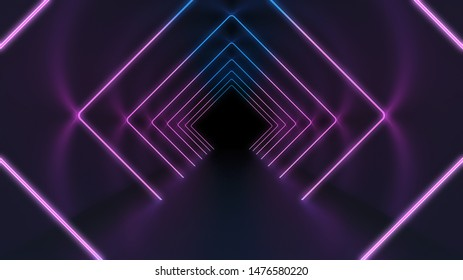abstract technology background with glowing neon frames in the dark tunnel