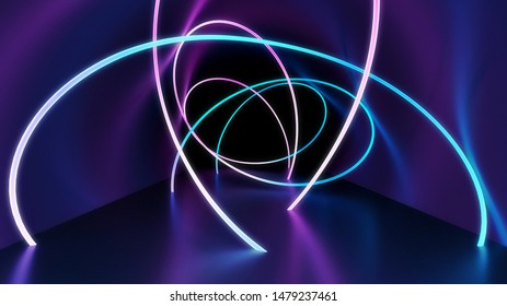 abstract technology background with glowing neon curves in the dark tunnel