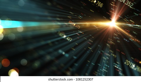 Abstract technology background with lens flares and block of digits. Data transmission channel. Motion of digital data flow. Transferring of big data/Transfer and storage of data sets