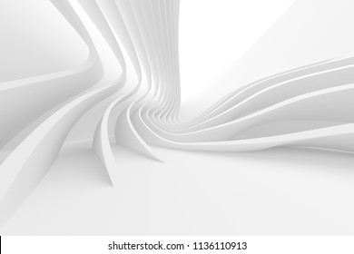 Abstract Technology Background. Minimal Architecture Design. White Industrial Wallpaper. 3d Illustration