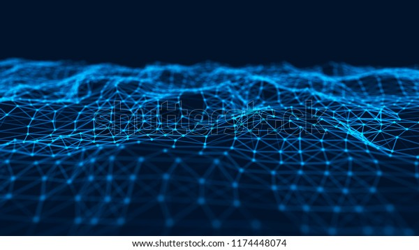 Abstract technology background. Music blue background. Big data visualization. 3d rendering.