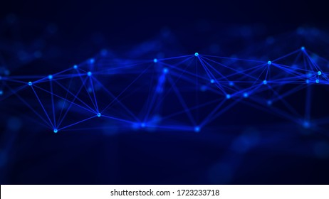 Abstract technology background. Network connection structure on blue background. 3D rendering.