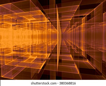 Abstract  technology background with perspective - computer-generated orange image. Modern fractal artwork with glass walls and light effects. For desktop wallpaper, web-design, banners