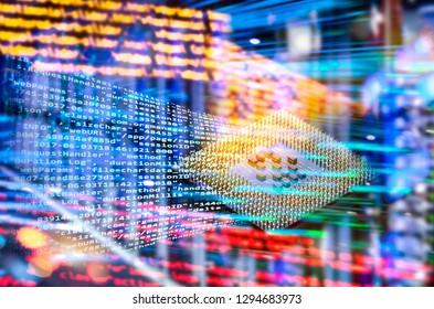 Abstract technology Background with processor, program code and many lights