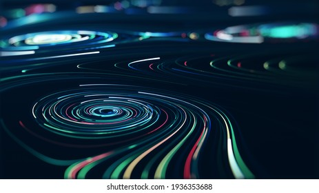 Abstrakte Technologie Big Data Konzept. Motion-Grafik für abstraktes Rechenzentrum, Datenfluss. Transfer von Big Data und Speicherung von Block-Kette, Server, Hi-Speed Internet. 3D-Rendering.