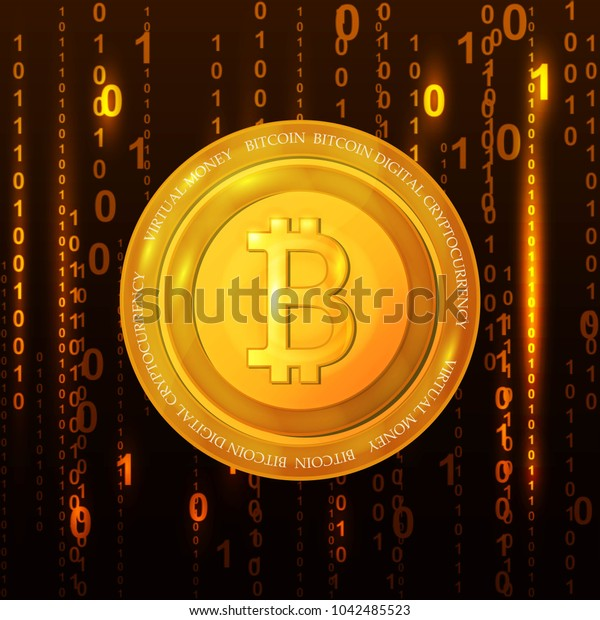 Abstract technology bitcoin symbol. Virtual money / Digital currency. illustration.