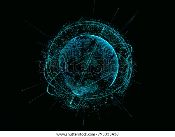 Abstract Technology Concept Digital World Link Stock Illustration