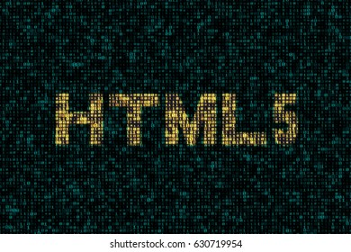 """Abstract technology digital backgrounds with word of """"html5"""". 3D rendering."""