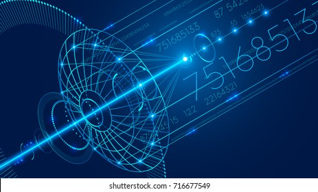 Abstract technology digital communication background. The digital data is transmitted via satellite Internet.