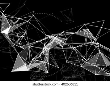 Abstract technology futuristic network - fantasy plexus background - 3d rendering