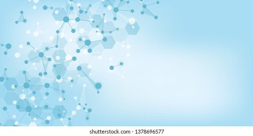 Abstract technology and innovation background with molecular structures and neural network. Molecules DNA and genetic engineering. Technical and scientific concept