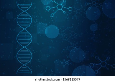 Abstract technology science concept DNA futuristic on hi tech blue background, DNA structure, abstract medical and health care background