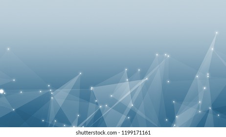 Abstract technology and science polygonal space low poly dark background Tone blue gray with connecting dots and lines.