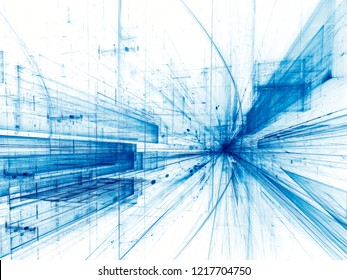 Abstract technology white and blue background - computer-generated 3d illustration. Digital art: straight lines converging to a point. Sci-fi or vr concept backdrop.