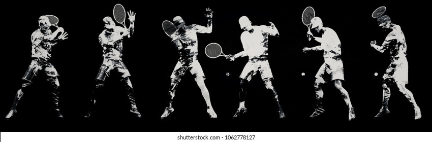 Abstract tennis players; 3d illustration