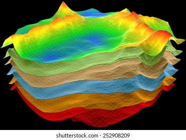 abstract terrain, geology ?ut layers scheme, 3d render isolated on black