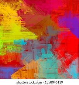 Abstract texture. 2d illustration. Expressive handmade oil painting on canvas. Brushstrokes. Modern art. Multi color backdrop. Contemporary brush. Colorful digital backdrop.