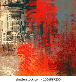 Abstract texture. 2d illustration. Expressive handmade oil painting on canvas. Wide brushstrokes. Modern digital art. Multi color backdrop. Contemporary brush. Expression. Popular style.
