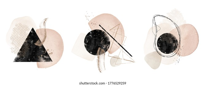 Abstract Texture Arrangements. Pre-made composition design. Terracotta, blush, pink, ivory, beige, watercolor Illustration & gold elements, backgrounds. Modern print set. Logo. Wall art. Business card