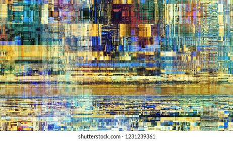 Abstract texture with artifacts codec. Imitation of a grunge Datamoshing pattern. Aspect ratio 16: 9