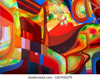 Abstract texture with church. Oil, acrylic paints, gouache. Modern painting. Colorful rainbow palette. Avant-garde art. Reminiscent of graffiti. Contemporary art. Stains, spray paint