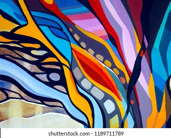 Abstract texture. Oil, acrylic paints, gouache. Modern painting. Colorful rainbow palette. Avant-garde art. Reminiscent of graffiti. Contemporary art. Stains, spray paint