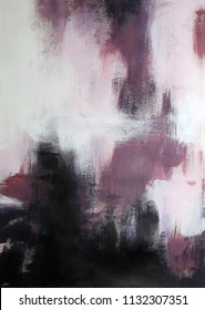 Abstract textured acrylic painting - black, white, dusty rose pink and maroon