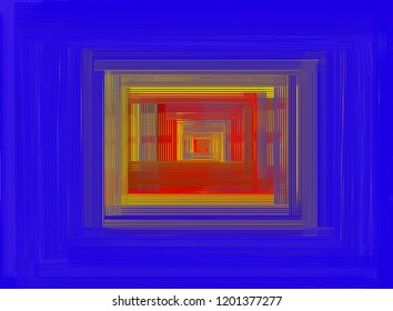 Abstract textured drawing of lines arranged in the form of quadrilaterals of different sizes. Texture drawing of lines arranged in the form of quadrilaterals in red, yellow, blue and other shades.