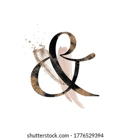 Abstract Textured Gold & Dark Alphabet - letter & ampersand. Blush, beige collection for wedding invites decoration, posters, wallpapers, cards, birthdays & other concept ideas.