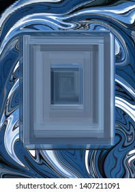 Abstract textured quadrilateral on background with wavy pattern in blue, white and other shades.