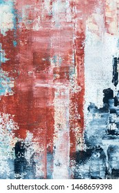 abstract textured red  and blue acrylic painting on canvas