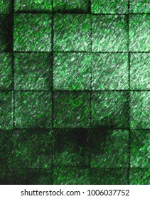 Abstract textured squares of turf to use for summer, spring, earth, and ground. Painted effect with green tones and white flecks.
