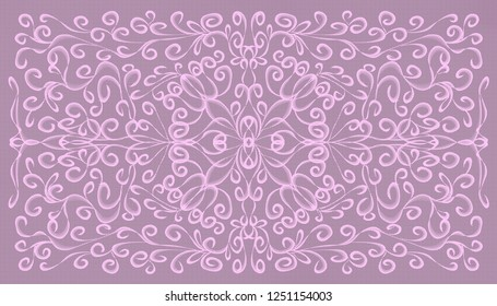 Abstract textured symmetrical openwork light purple ornament with twirls on moderately purple background.
