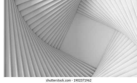 Abstract three-dimensional white light texture of a set of straight square steps spiraling. 3D illustration