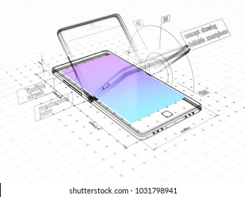 Abstract three-dimentional sketch of a foldable smartphone. Technical drawing.  3d illustration.