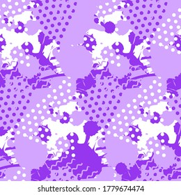 Abstract tile violet pattern. Seamless print texture with liquid and geometric shapes of proton purple color