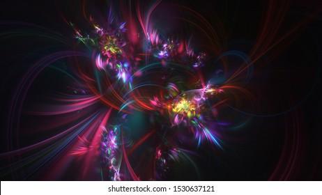 Abstract transparent red and blue crystal shapes. Fantasy light background. Digital fractal art. 3d rendering.