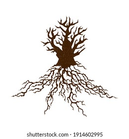 Abstract tree silhouette with root. Tree with lush root. Corporate branding identity design template