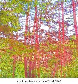 Abstract Trees In Light Green And Pink