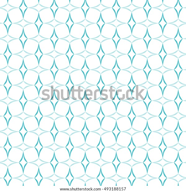 Abstract trellis pattern of light blue curved diamonds set in horizontal and vertical stripes on white background. Seamless repeat. Raster version.