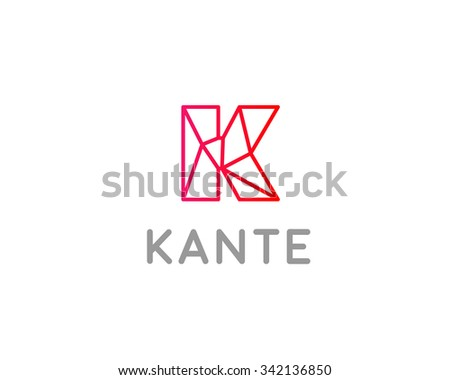 abstract trend letter k logo design template colorful structure creative line sign communication